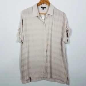 Lord & Taylor Striped Button Front Blouse Large
